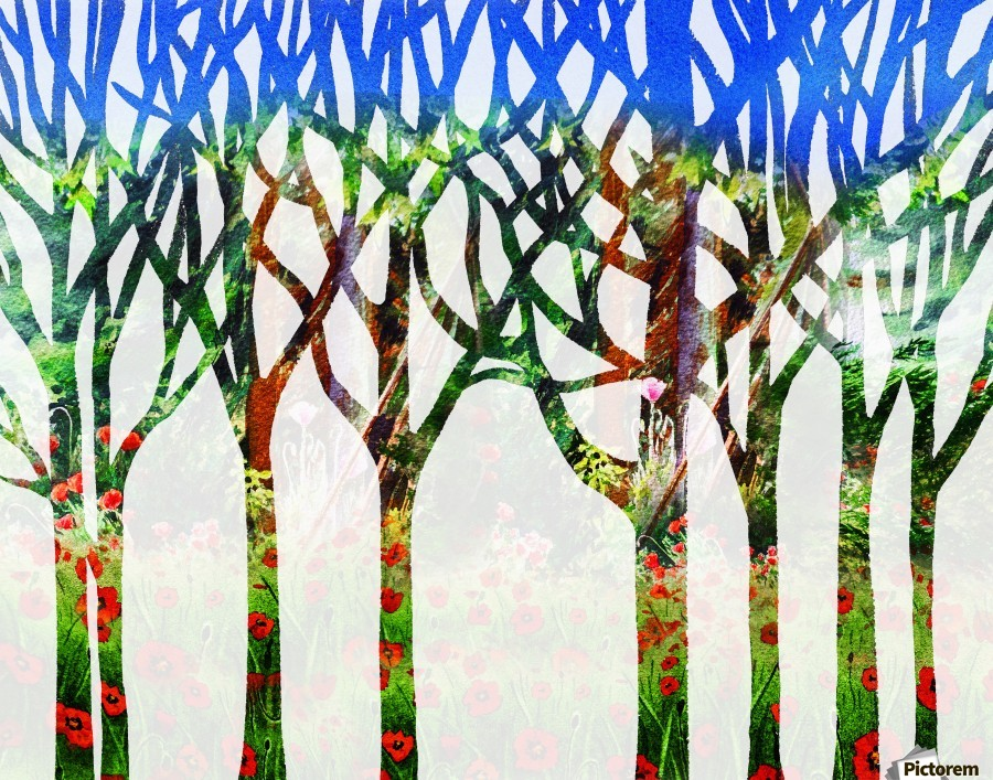 Watercolor Forest Silhouette Summer  Print
