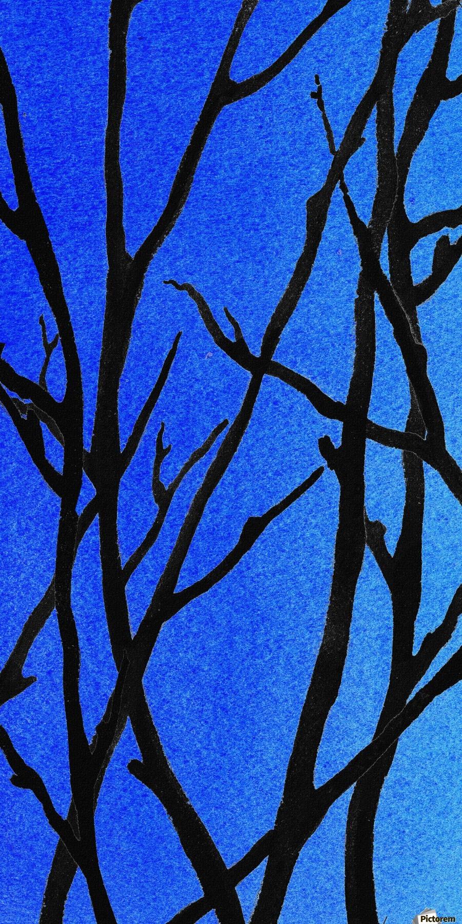 Ultramarine Forest Winter Blues I  Print