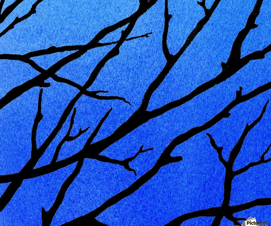 Ultramarine Forest Winter Blues II  Print