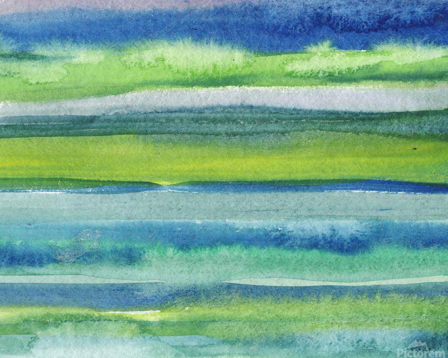 Ocean And Sea Beach Coastal Art Organic Watercolor Abstract Lines II  Print
