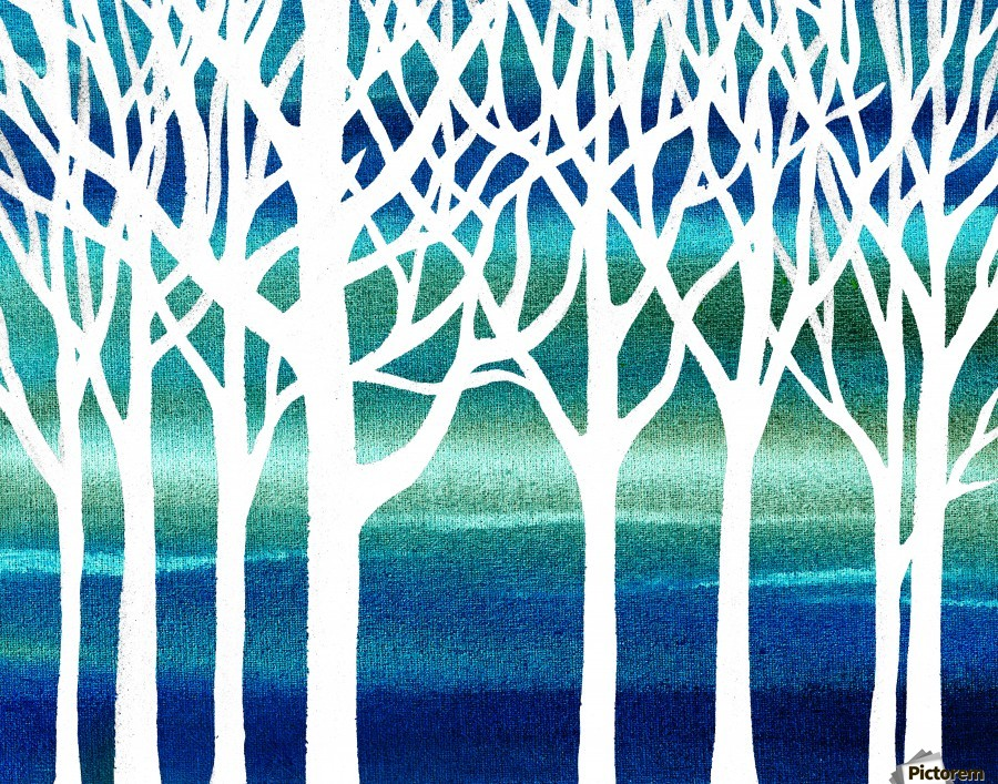 White And Teal Forest  Print
