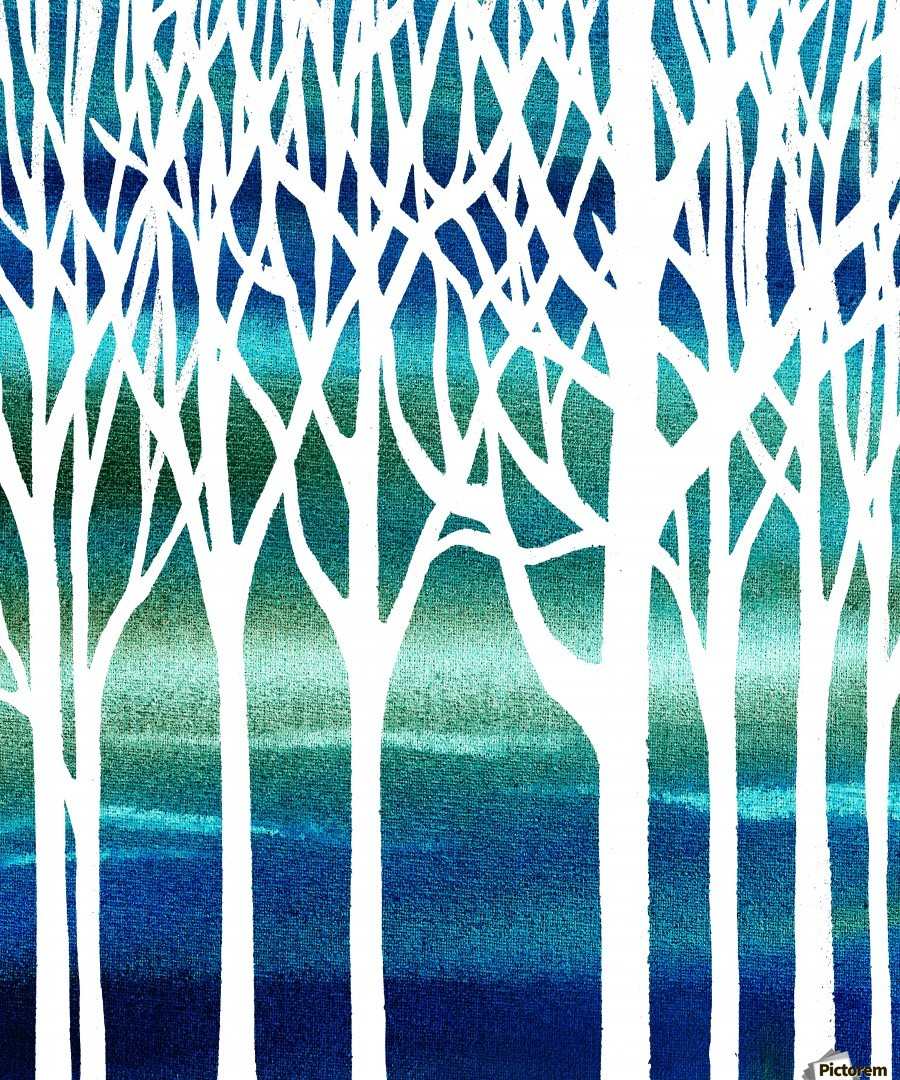 Blue Teal Forest   Print
