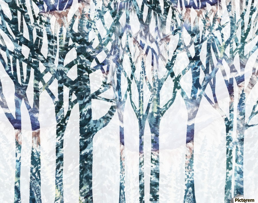 Watercolor Forest Silhouette Winter  Print