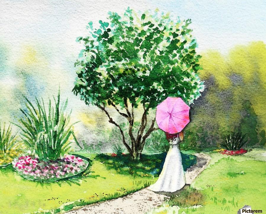 Girl With Pink Umbrella  Print