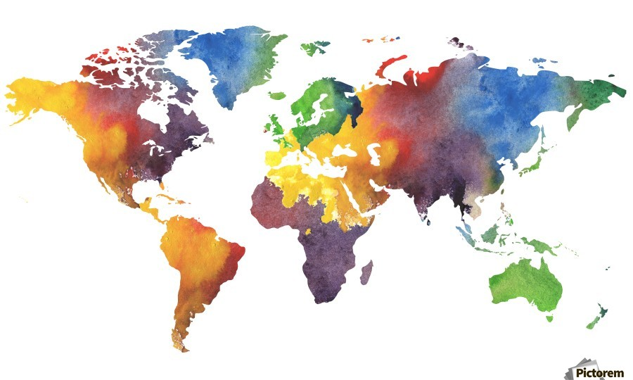 Colorful Map Of The World Watercolor   Irina Sztukowski Canvas