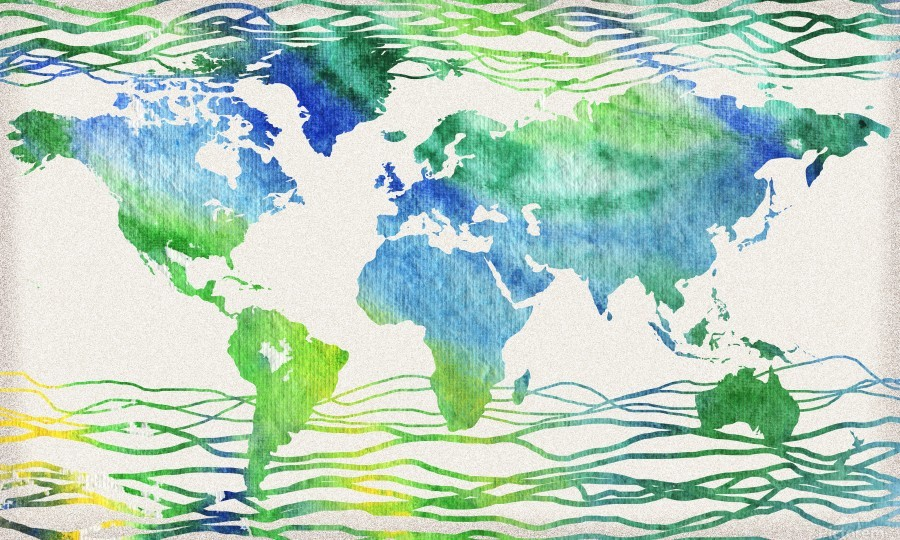 Watercolor Silhouette World Map Blue Green Wave   Print