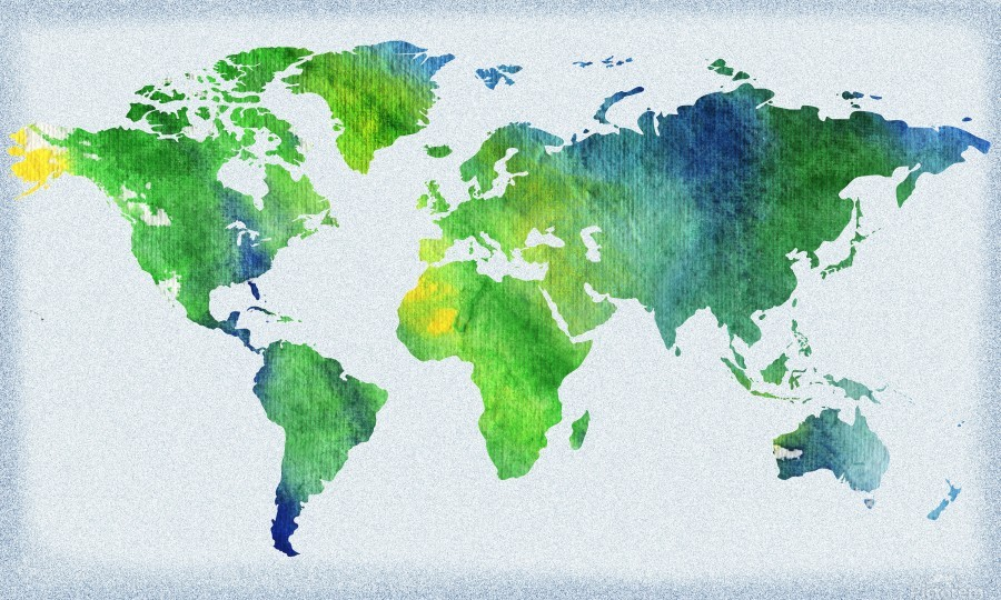 Watercolor Silhouette World Map Peaceful Green   Print