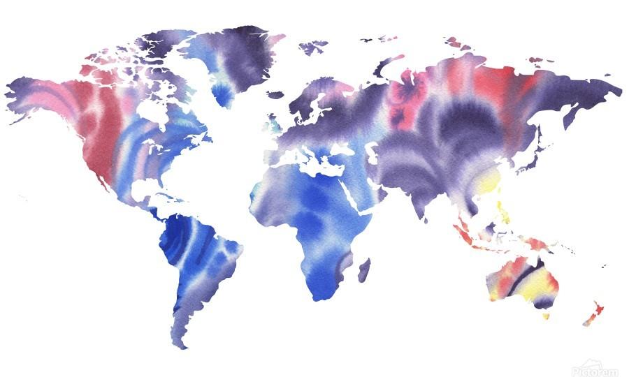 Watercolor Silhouette World Map Purple Blue  Print