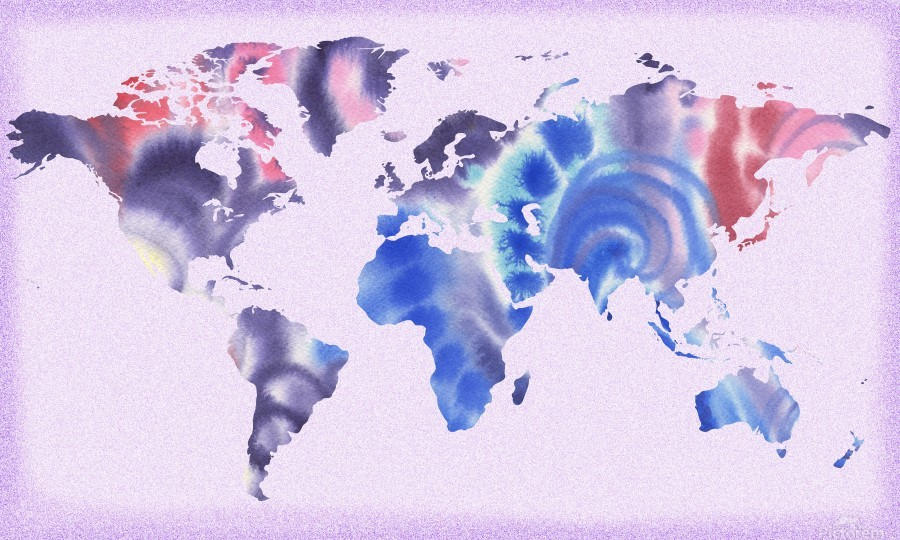Watercolor Silhouette World Map Lilac Blue And Purple  Print
