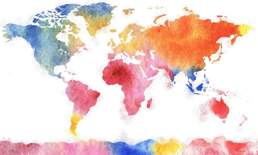 Watercolor Silhouette World Map Rainbow Sea  Print