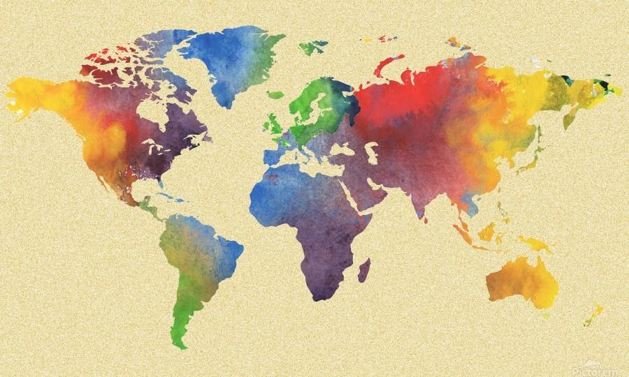 Hot And Vivid Watercolor Map Of The World - Irina Sztukowski Canvas