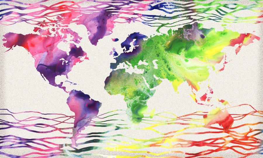 Colorful Wave Of Watercolour World Map  Print