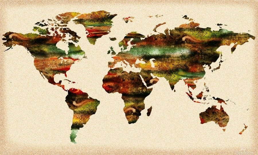 Watercolor World Map Vintage Brown  Print