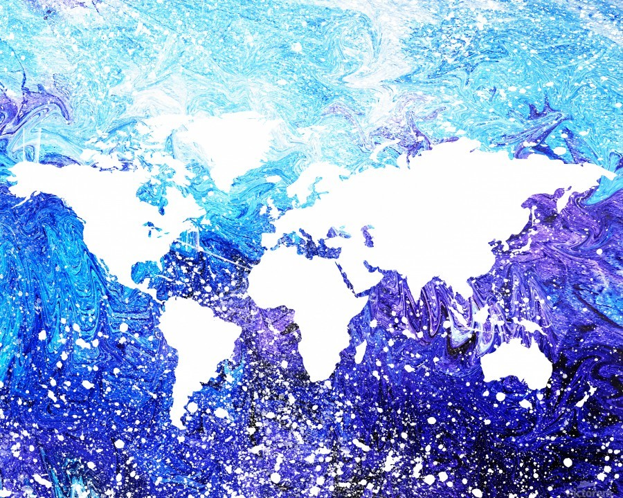 Watercolor Silhouette World Map Global Cooling   Print
