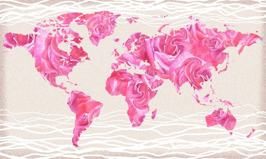 Pink Rose Petals Watercolor Map Of The World  Print