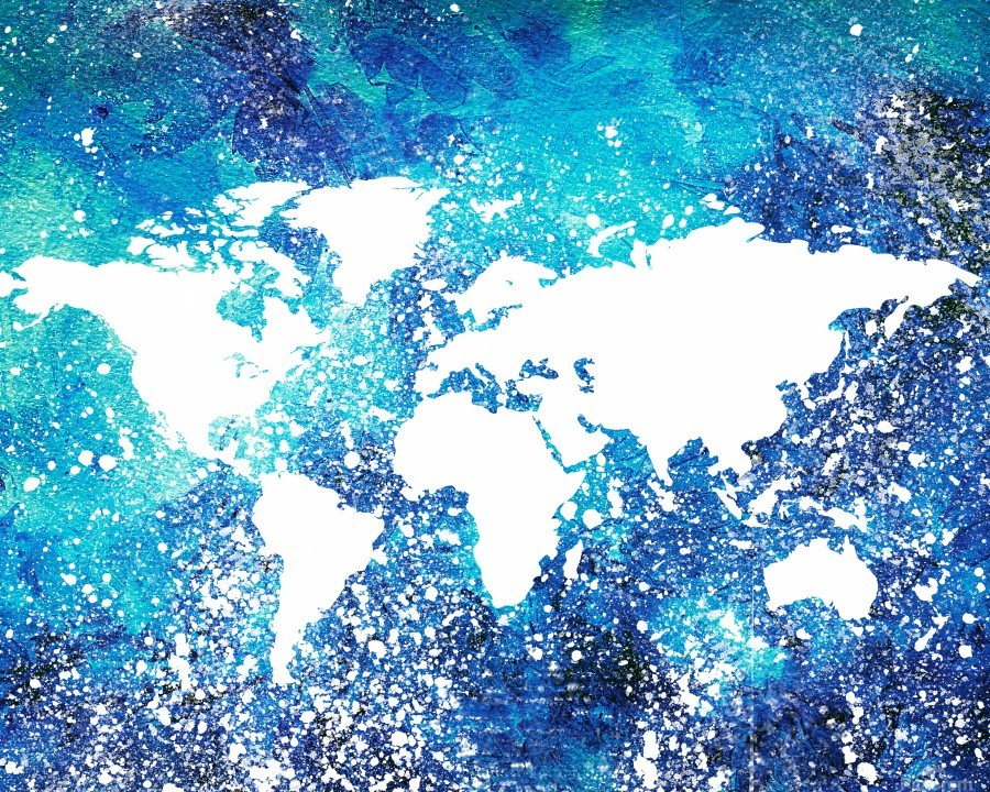 White And Teal Watercolor Silhouette World Map   Print