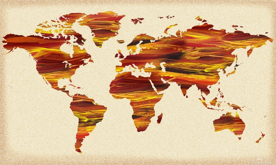 Watercolor Silhouette World Map Terra Lines  Print