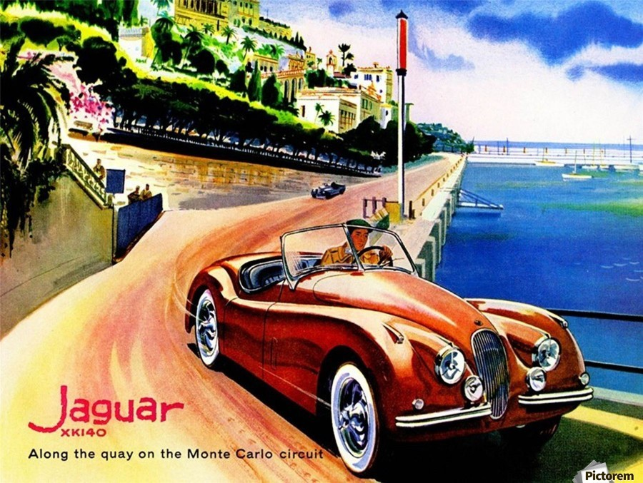 Jaguar Advertising Vintage Poster  Print