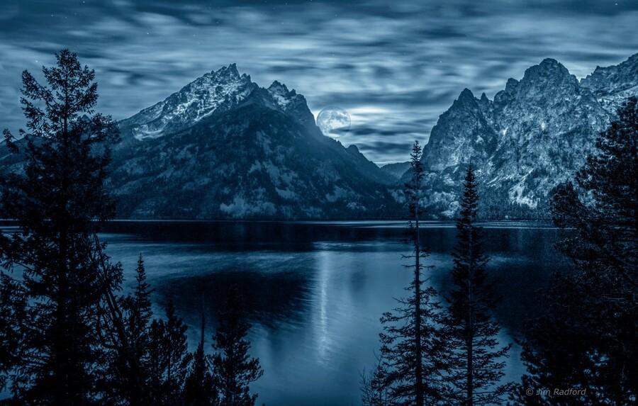 Moon over Jenny Lake  Print