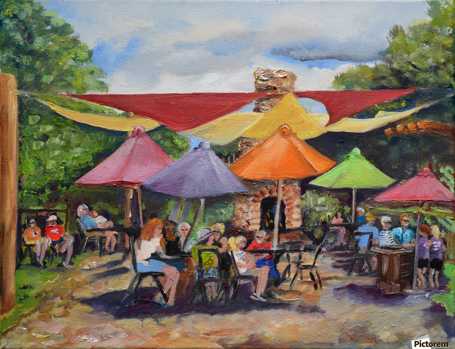 Under The Umbrellas At The Cartecay Vineyard - Crush Festival   Print