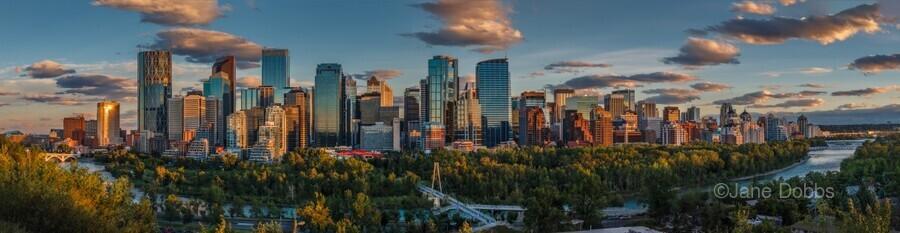 Calgary Downtown Four Bridges Sunset  Print