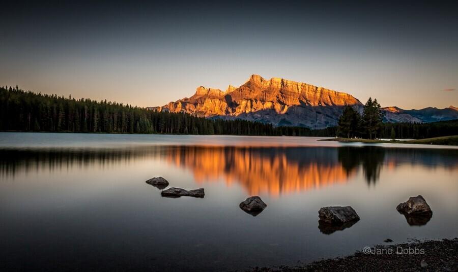 Rundle Mountain at TwoJacks Lake  Print