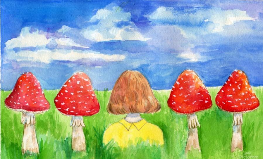 Mushroom Girl   Print