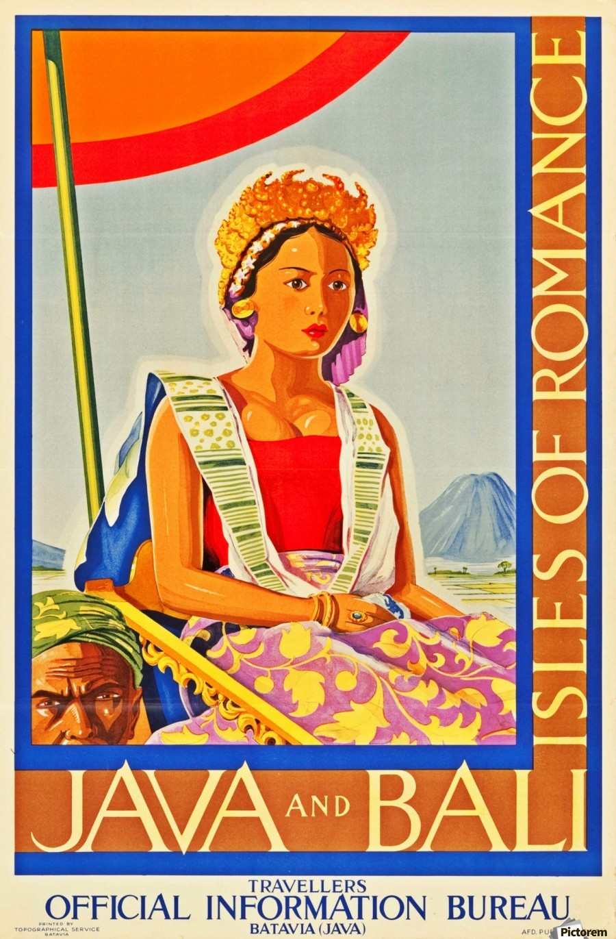 Java And Bali Travel Poster Vintage Poster Canvas