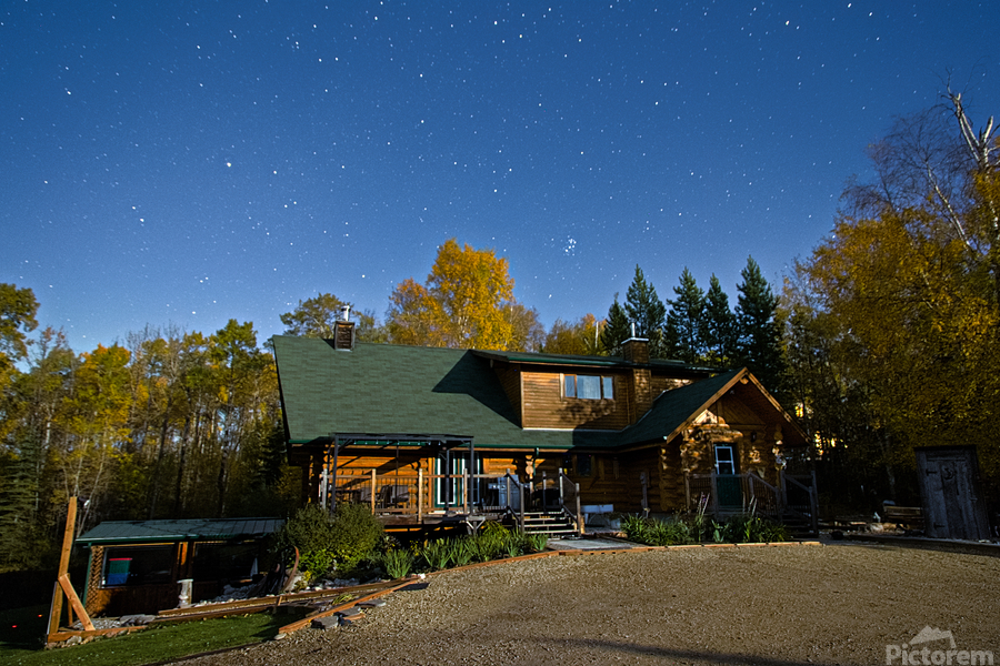 Nightscape Over Log Cabin  Print