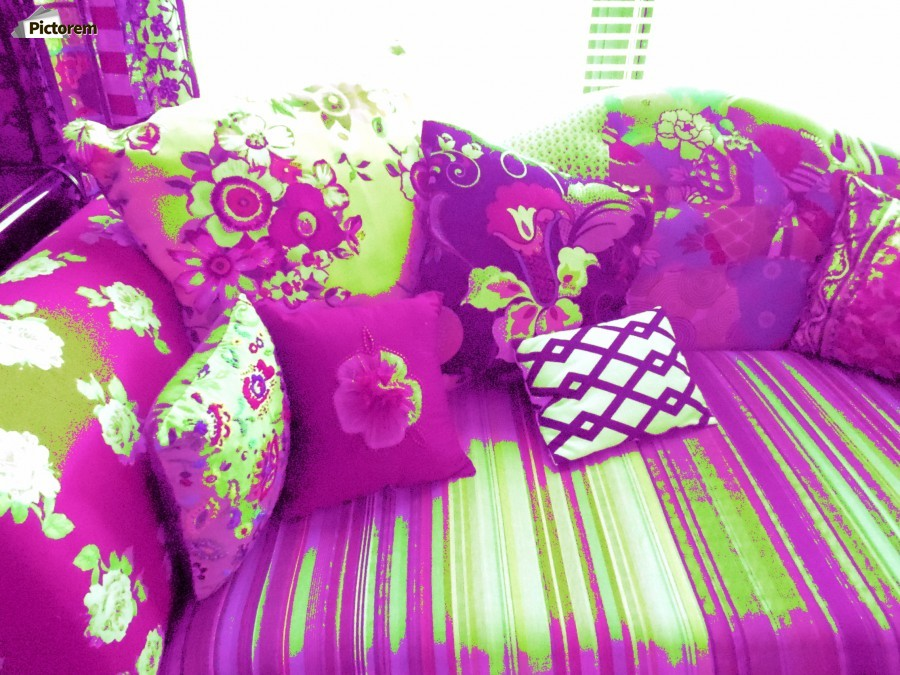 Sofa & Pillows -- Purple & Green  Print