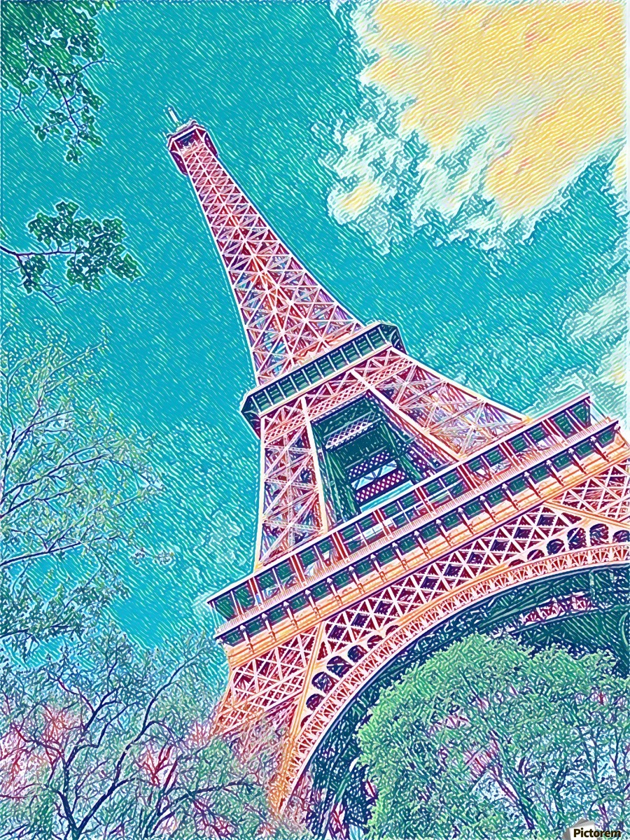 Eiffel Tower- Teal  Print