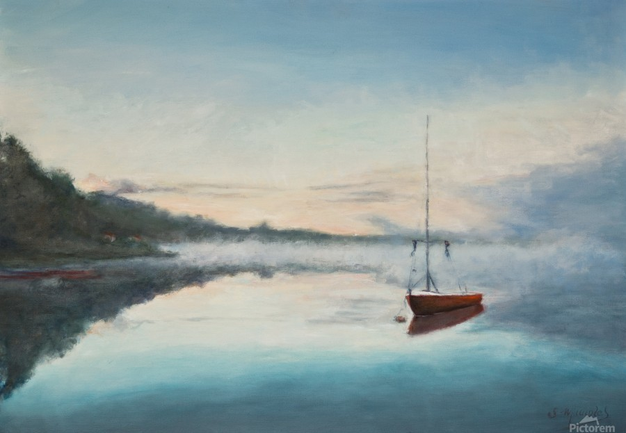 At rest  Au repos   oil painting  waterscape 1  Print