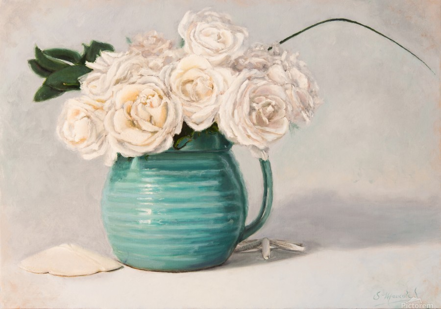 White roses in green pitcher 28 x 40 oil painting landscape 1  Print