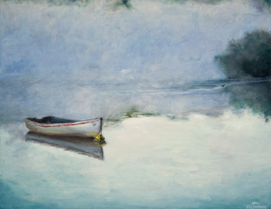 Fog on the lake   Brume sur le lac oil painting waterscape 1  Print