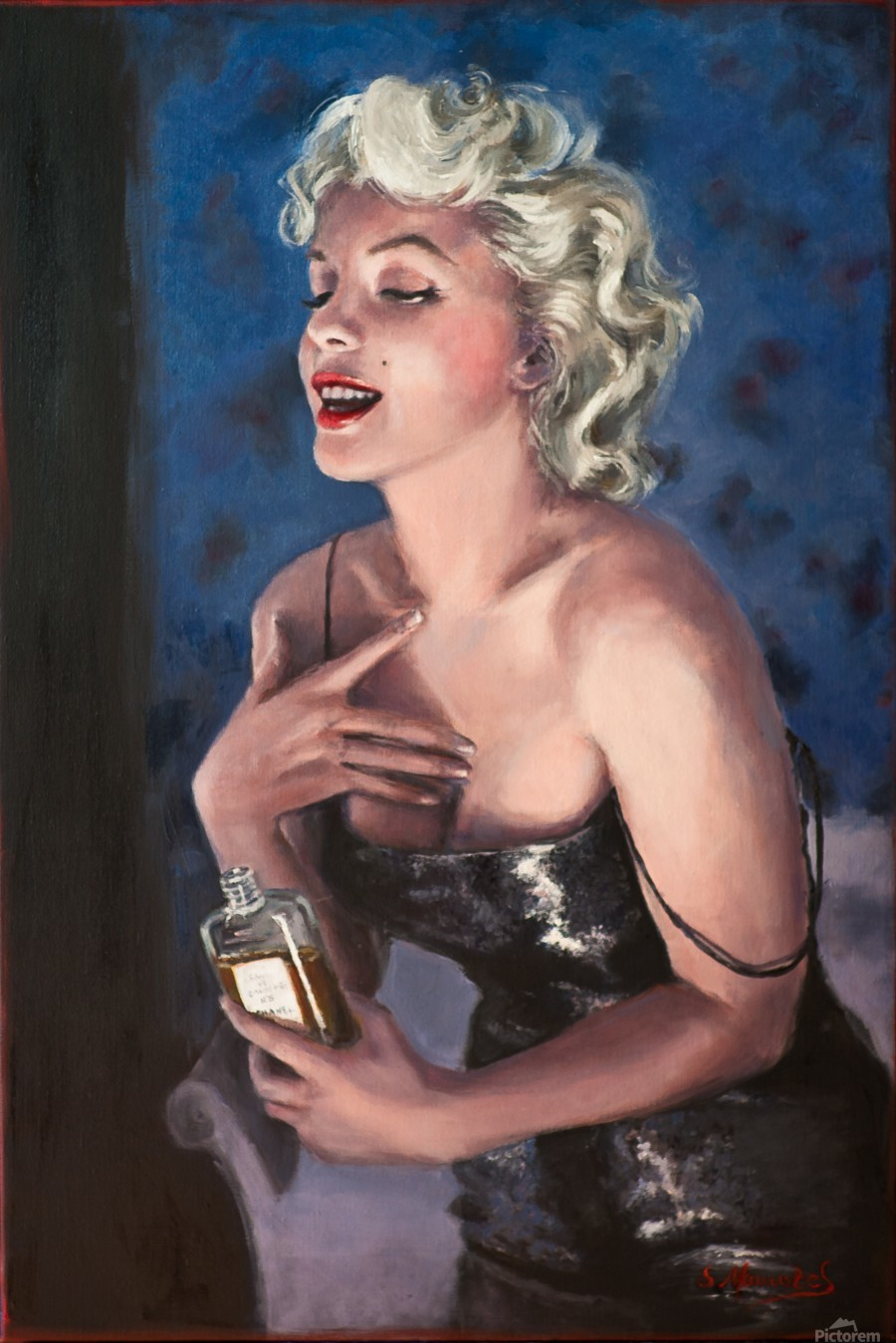 Marilyn in CHANEL 5 oil painting portrait 1  Print