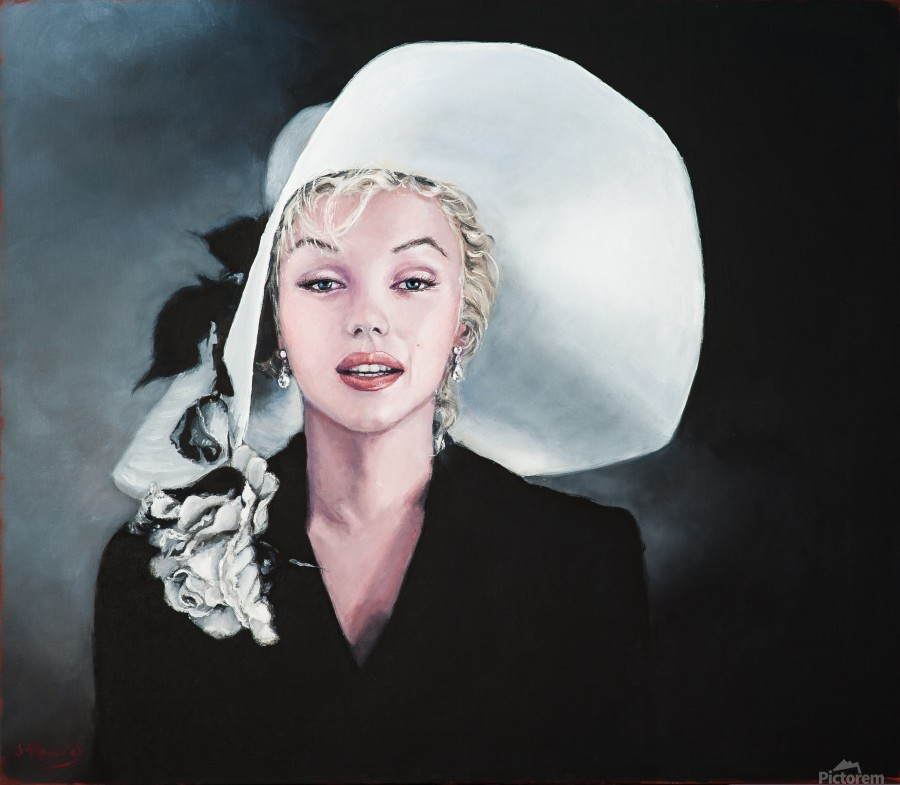 Marilyn with white hat  Print