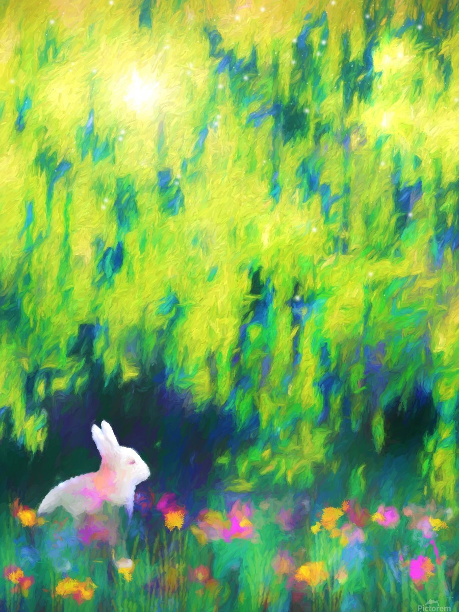 Bunny beneath the Willow Tree  Print