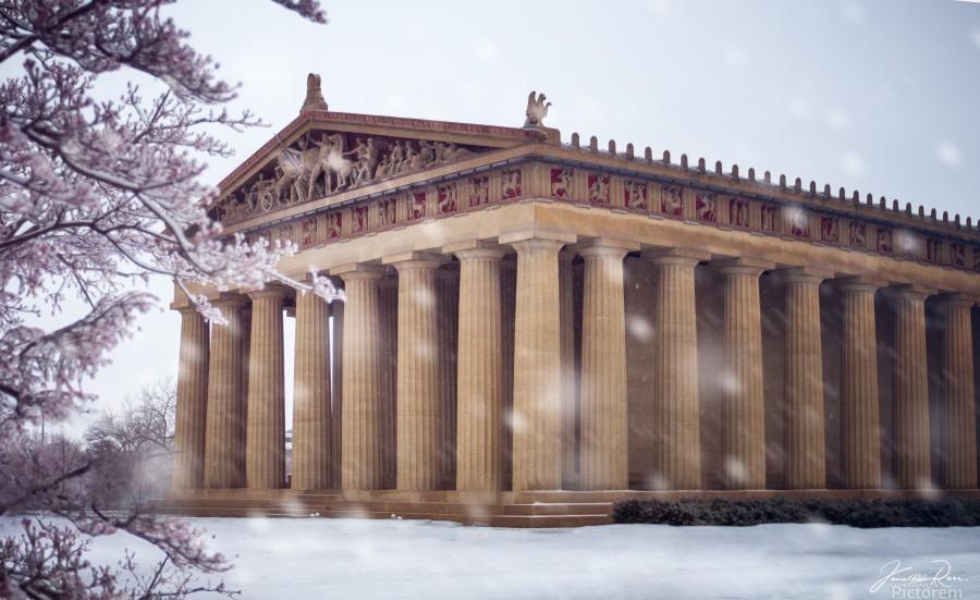 Parthenon in Nashville during winter  Print