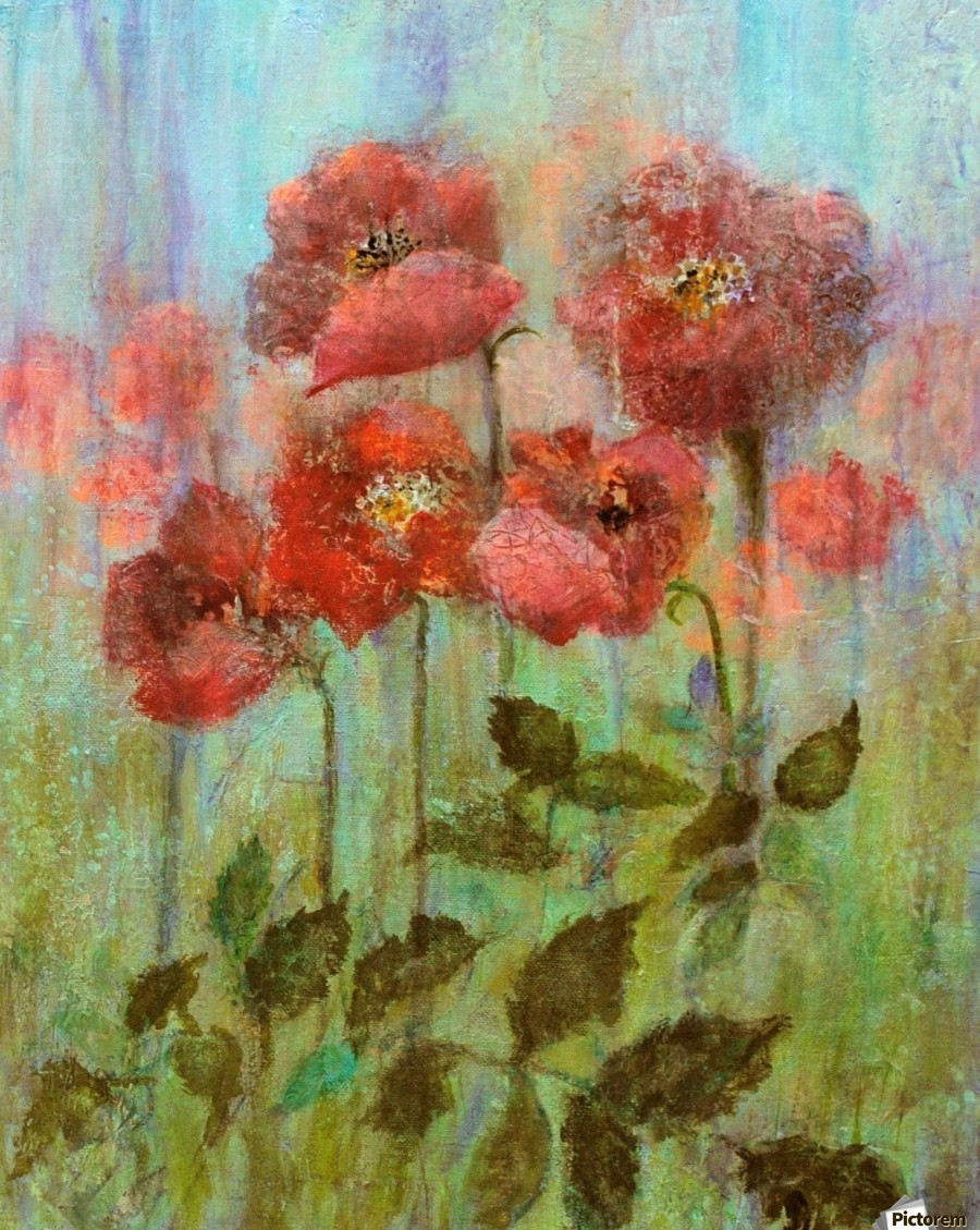 Poppies In Pastel Red  Print