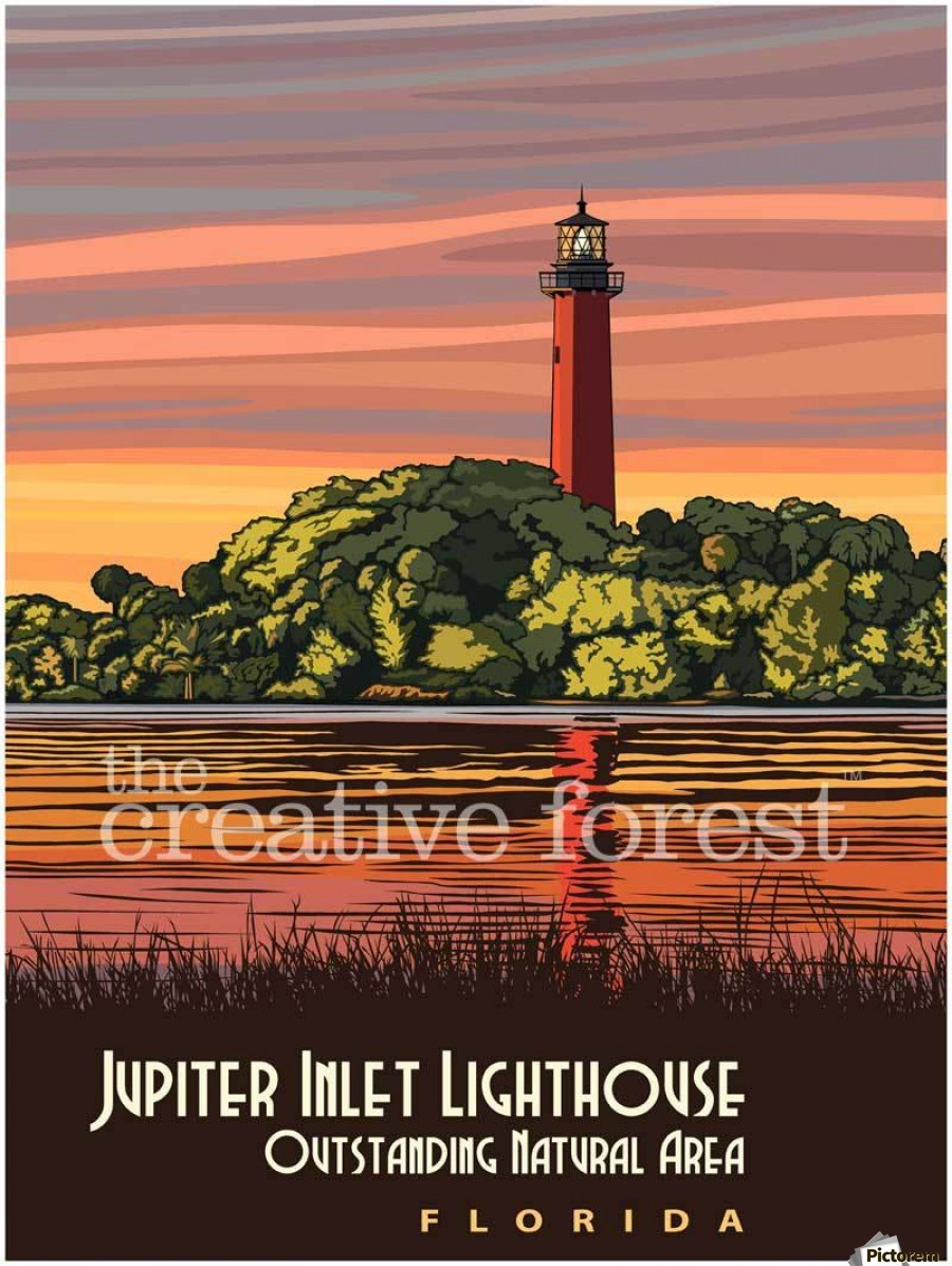 Jupiter Inlet Lighthouse, Vintage Florida Travel Reproduction  Print