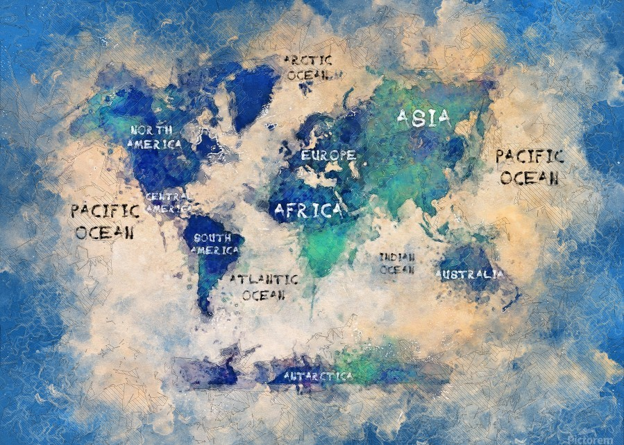 World Map Oceans And Continents Justyna Jaszke Canvas