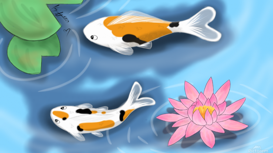 Cartoon Koi fish  Print