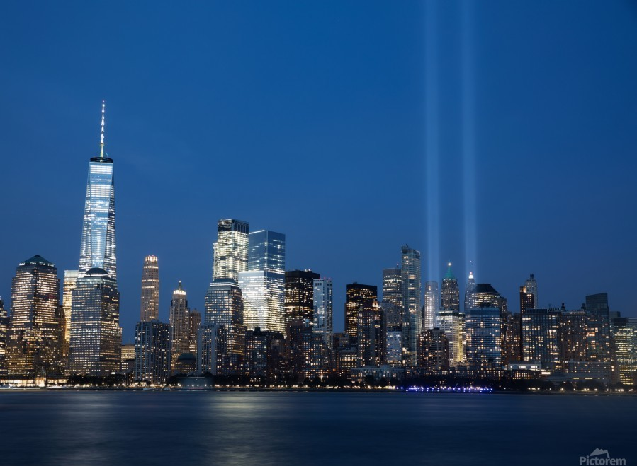 911 Memorial Lights NYC skyline  Print