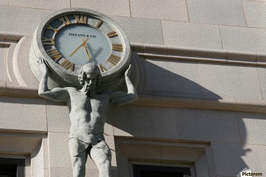 Man Holding Tiffany Clock  Print