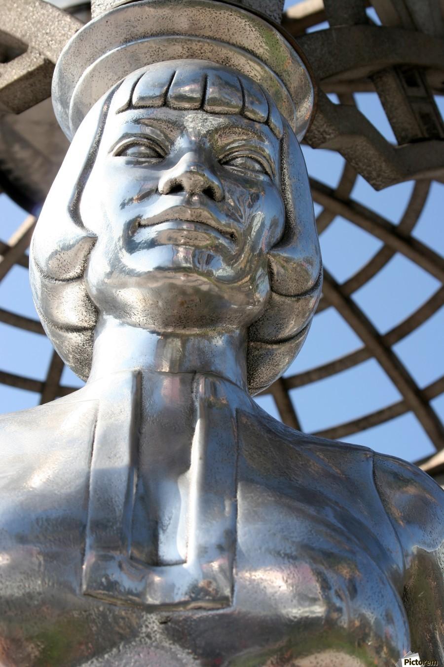 Silver Statue Face of Anna May Wong  Print