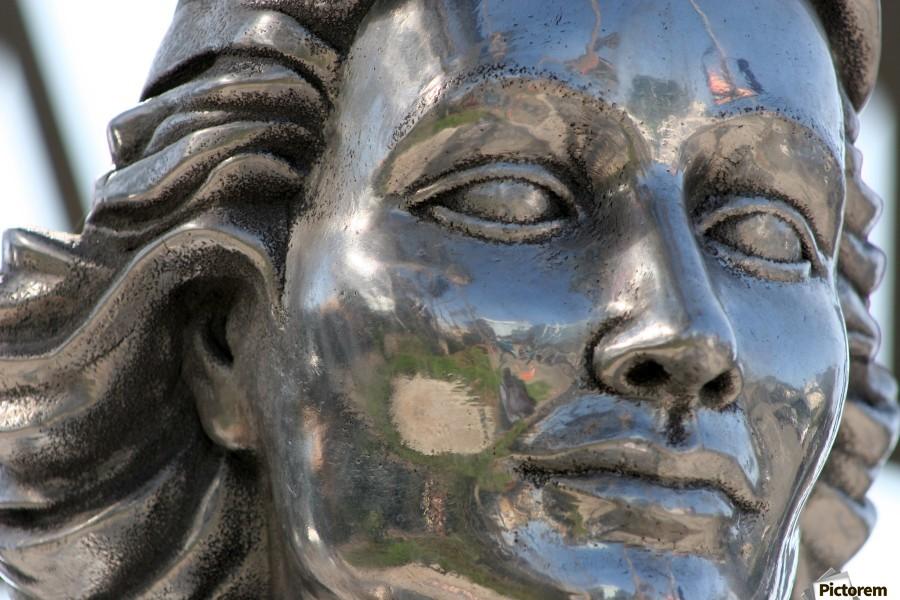 Face of Dolores Del Rio Silver Statue  Print