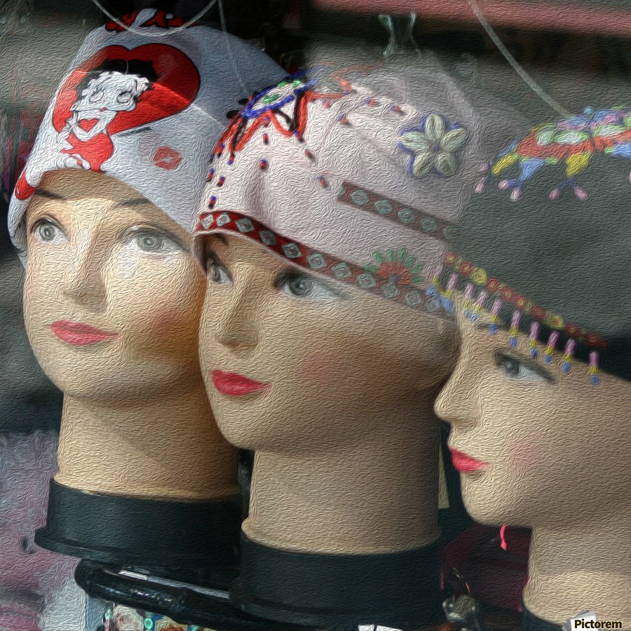 Three Mannequin Heads with Bandanas  Print