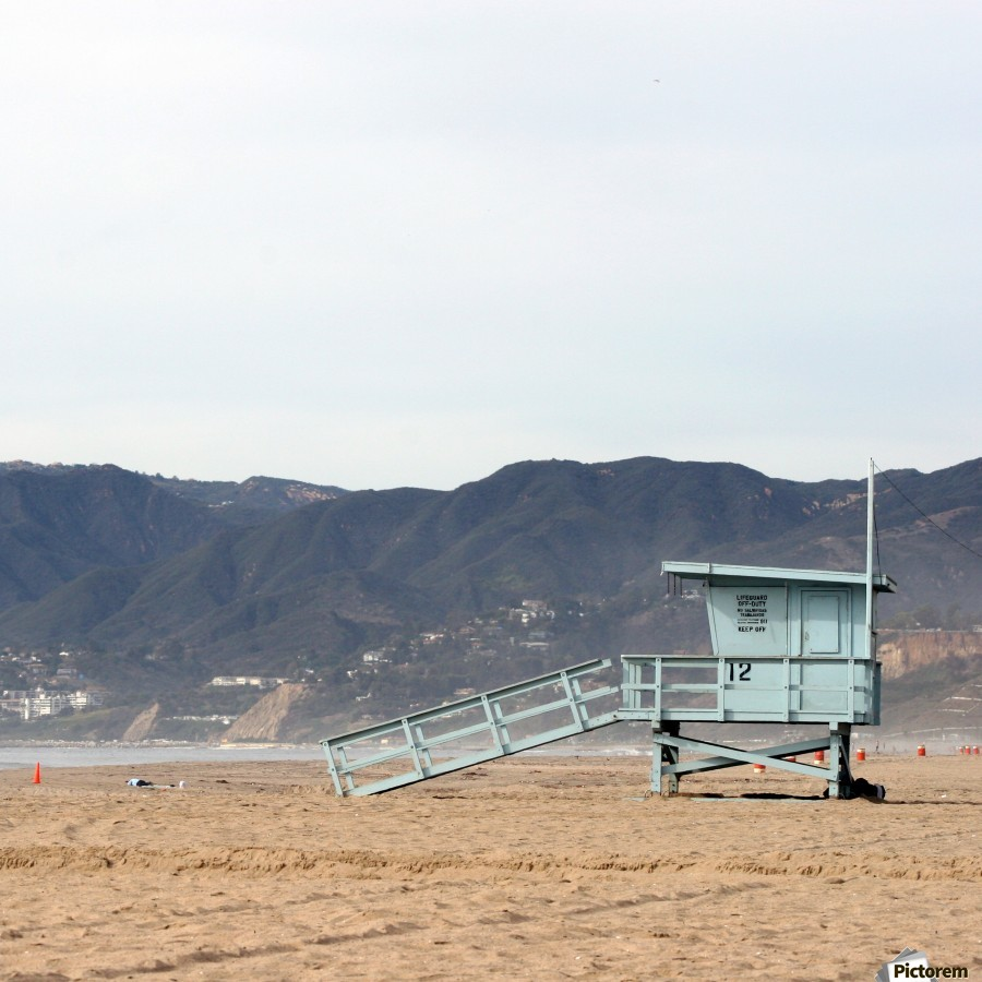 Lonely Lifeguard Tower at Beach  Print