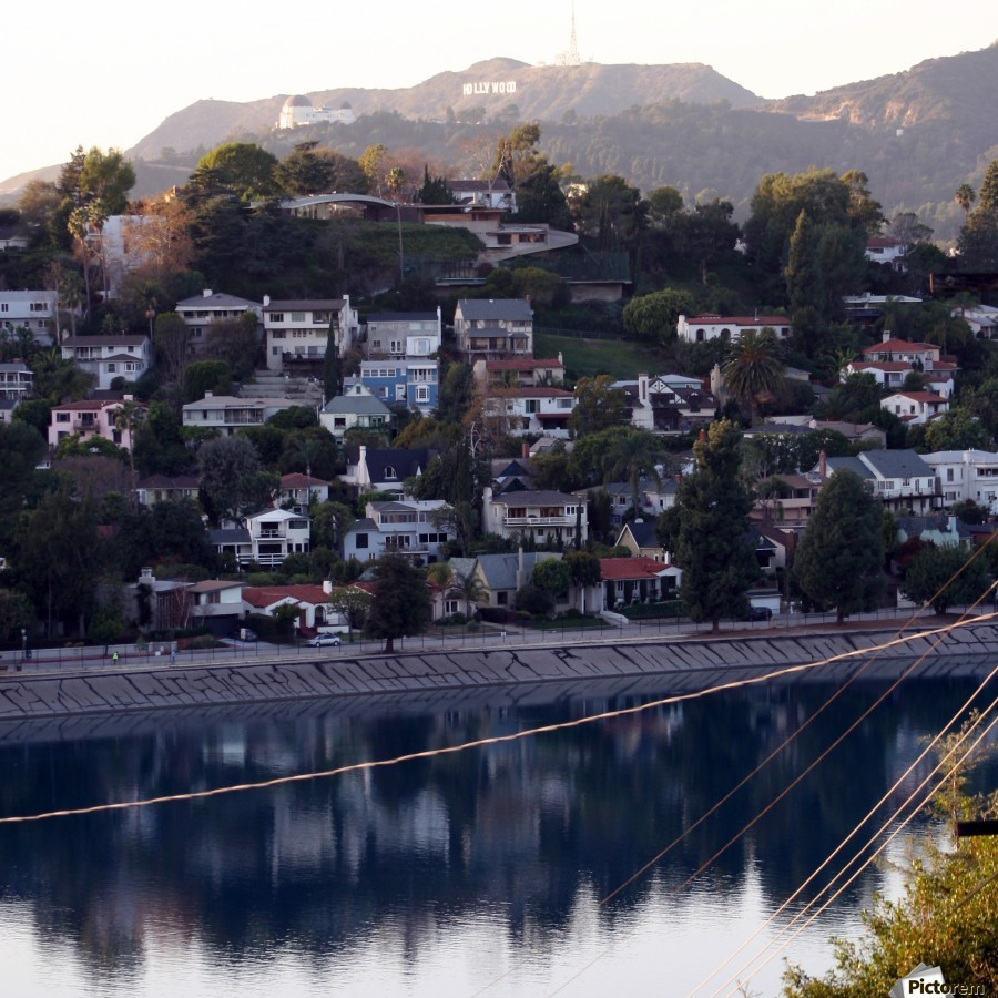 Silver Lake Reservoir with Griffith Observatory  Print