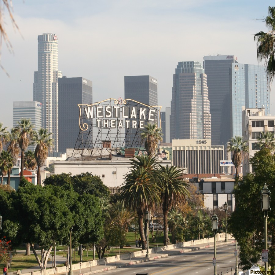 Westlake Theater to Los Angeles - Square  Print